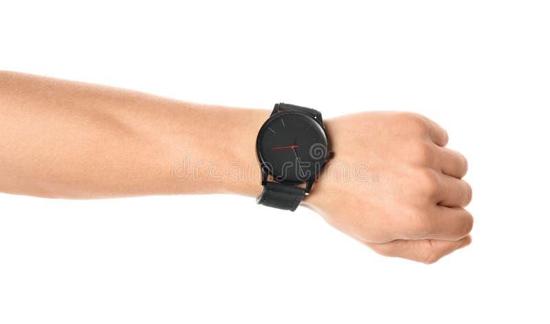 Man with stylish wrist watch on white background, closeup. Time management stock image