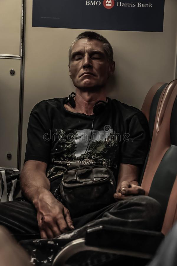 Man on a subway royalty free stock photos