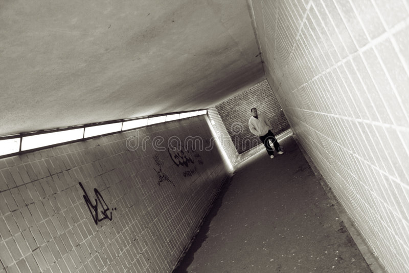Download Man in subway tunnel stock image. Image of walkway, passage - 1668653