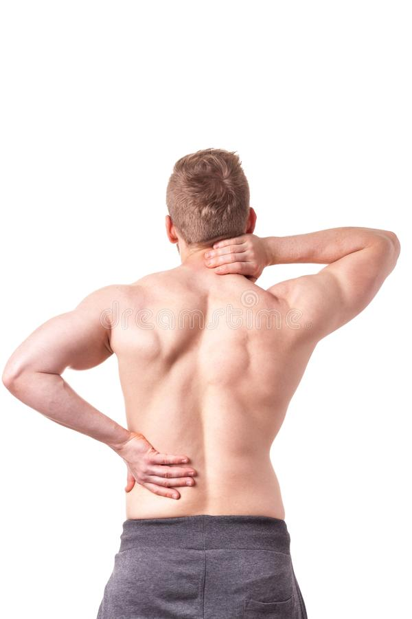 Man suffering from back pain royalty free stock photo