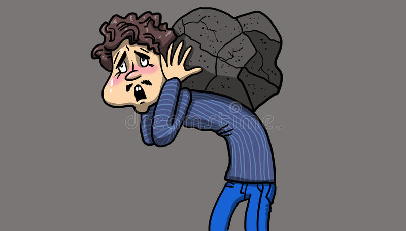 Man suffering while carrying a heavy rock on his back, illustration. Man suffering while carrying a heavy rock on his back on white background, illustration stock illustration