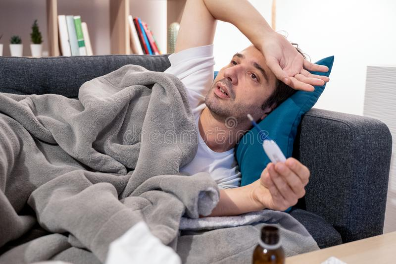 Portrait of man at home because of sick days royalty free stock photos