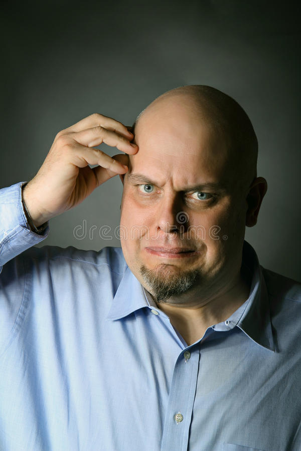 Man With Suffering Expression Stock Image