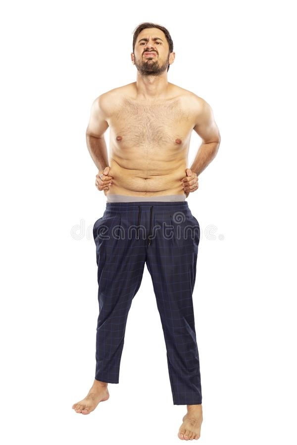 Man suffering from extra weight in diet concept stock photography