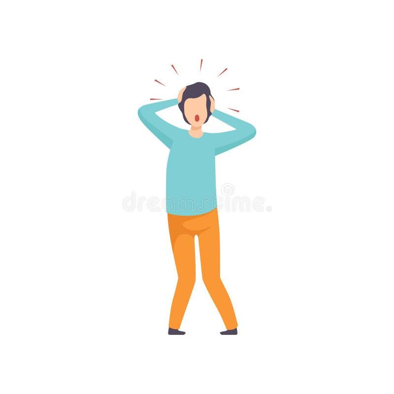 Man suffering from headache, mental disorder, psychiatric, psychological problem vector Illustration vector illustration