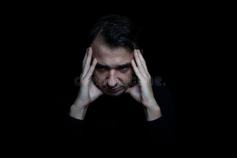 Man suffering for the mental disorder disturb stock photos
