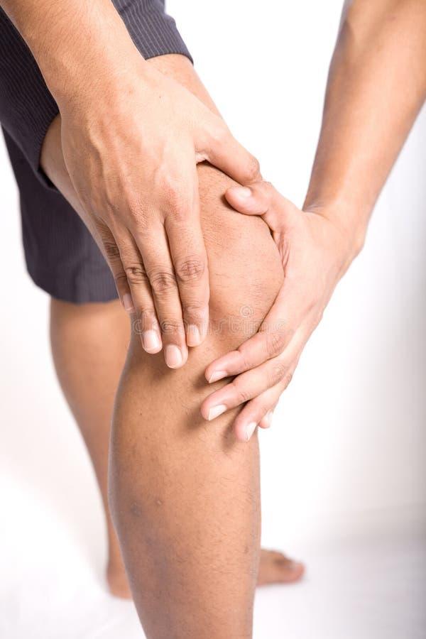 Man suffering pain on knee stock photography