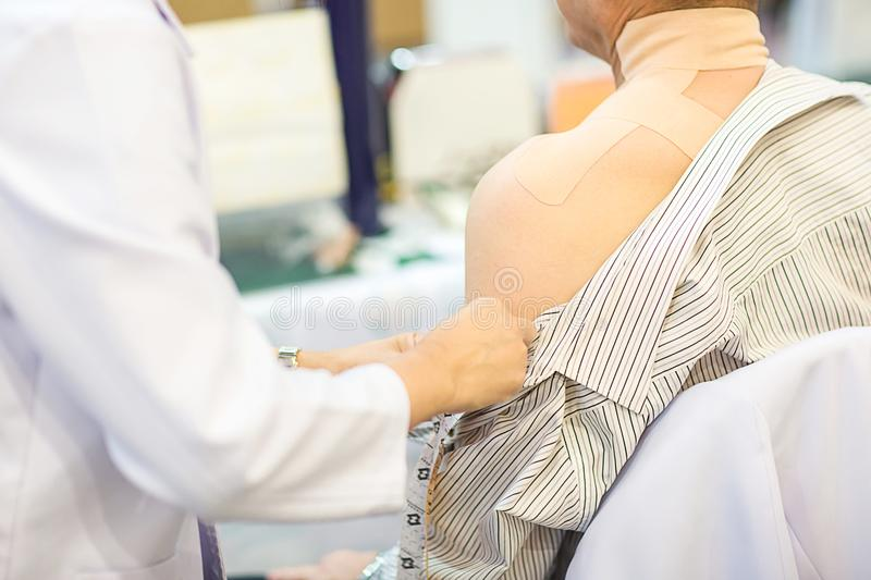 Man suffering from pain in shoulder, Muscle soreness. stock images