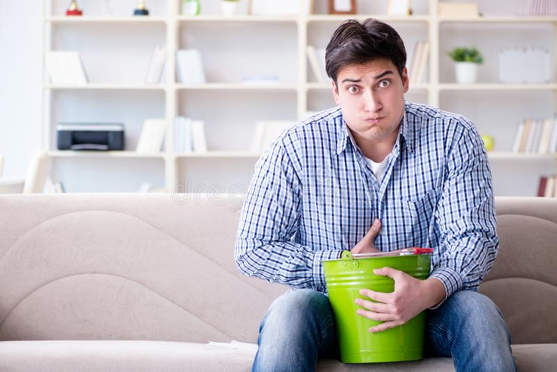 The man suffering from sick stomach and vomiting. Man suffering from sick stomach and vomiting royalty free stock photos