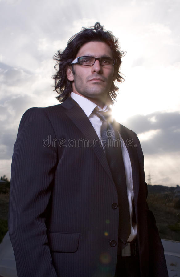 Download Man in suit stock photo. Image of frame, face, beams, cloudscape - 9840876