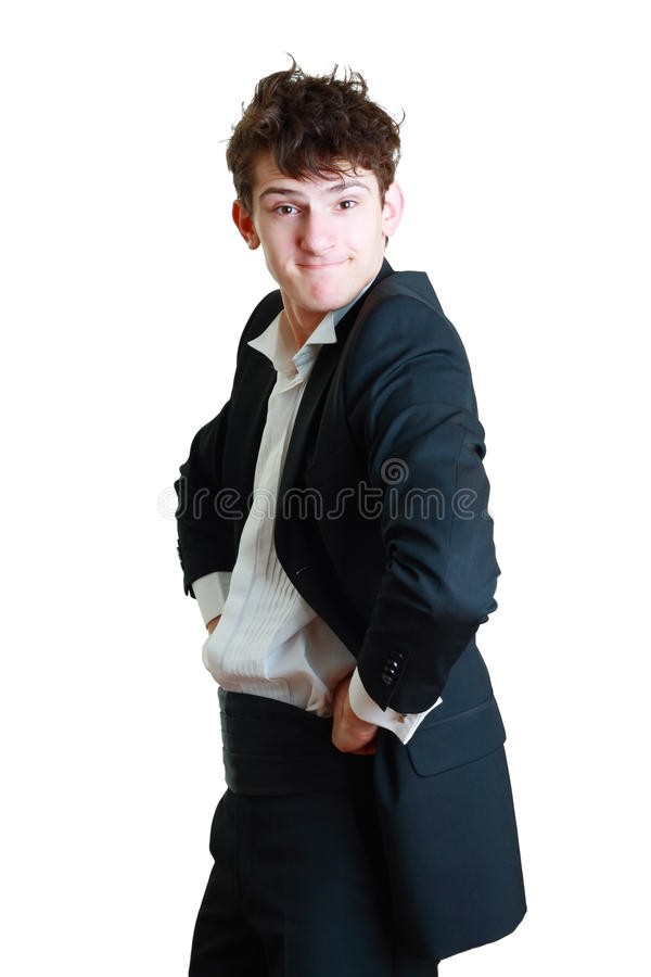 Man in a suit arguing. Young professional man in a suit arguing isolated on white background stock image