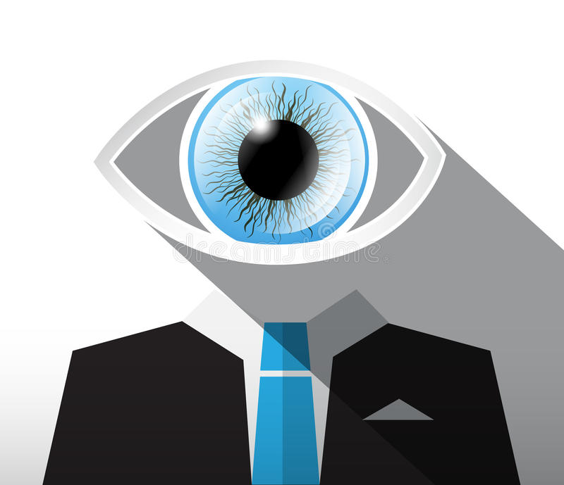 Man in Suit with Big Blue Eye. vector illustration