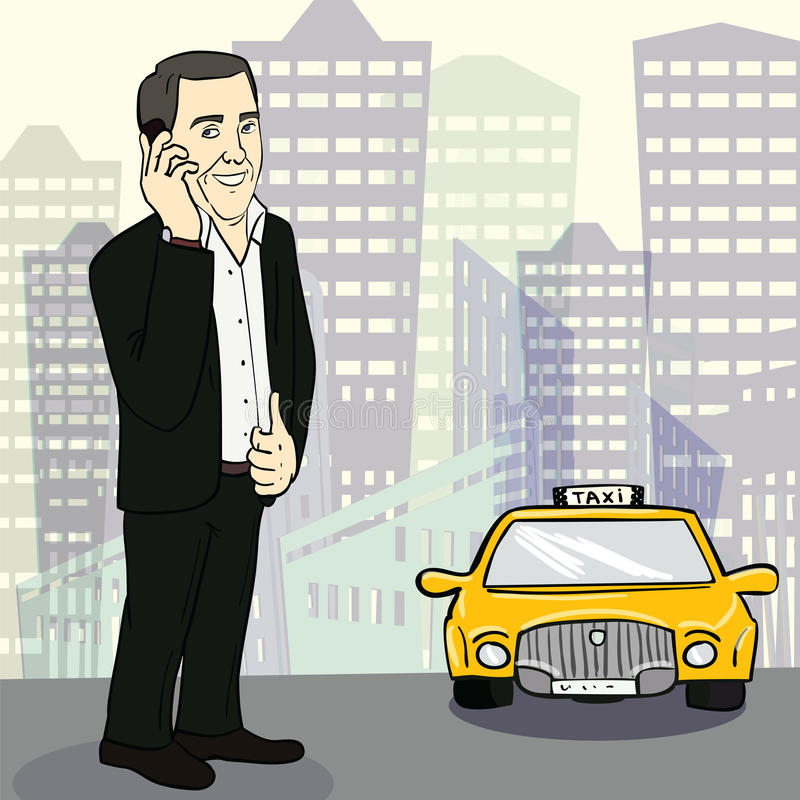Man in suit catching taxi on the street. Vector vector illustration