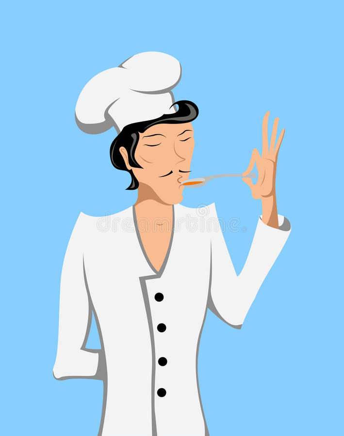 Man in a suit chef try the food at taste. Vector llustration vector illustration