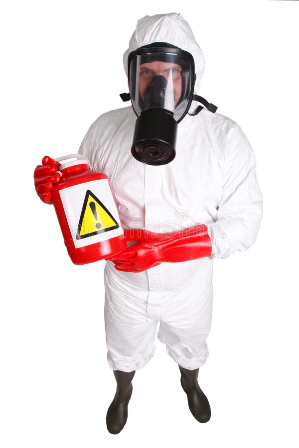 Man in a suit of chemical protection. Isolated on white royalty free stock photography