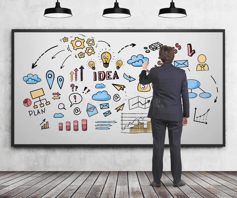 Download Man In Suit Drawing Business Idea Sketch Stock Photo - Image: 83722085