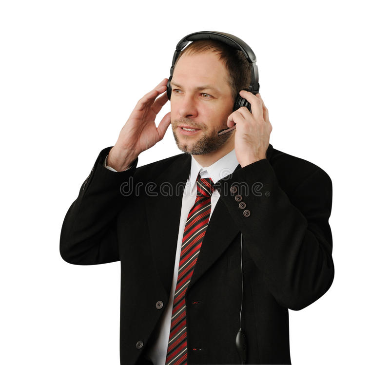 Download Man in suit with headset stock image. Image of contact - 28794751