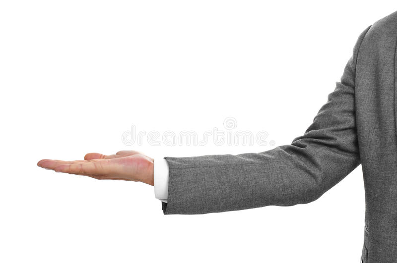 Man in suit with his hand open royalty free stock photo