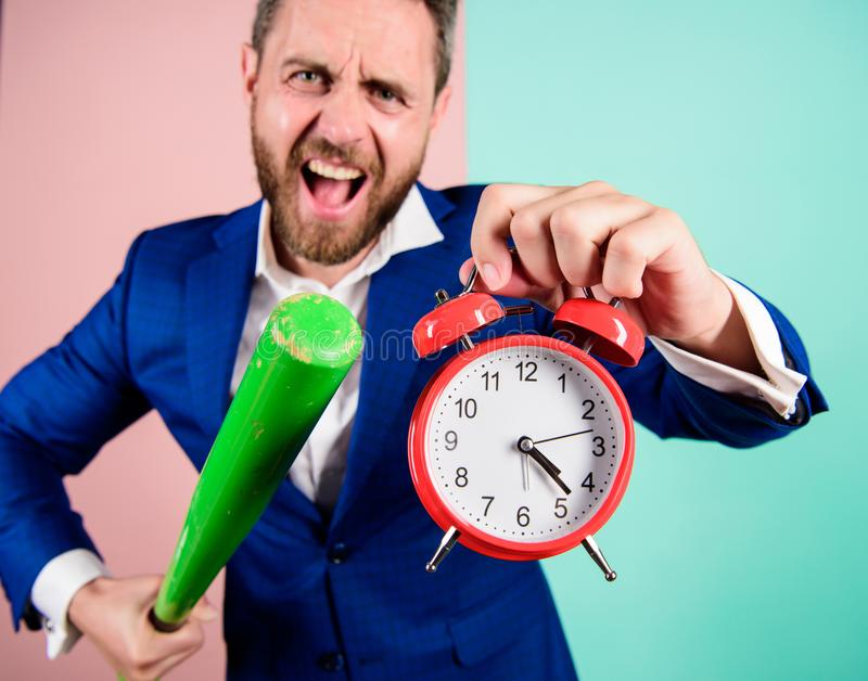 Man suit hold clock in hand and arguing for being late. Business discipline concept. Time management and discipline. Discipline and sanctions. Boss aggressive royalty free stock photos