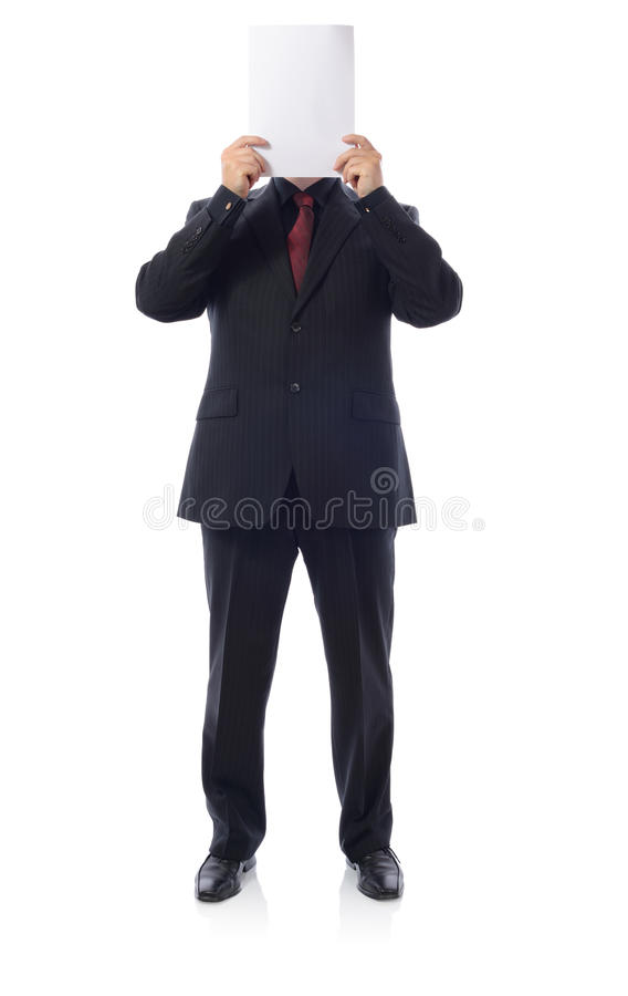 Download Man In Suit Holding Blanck Paper Stock Photo - Image: 26888422