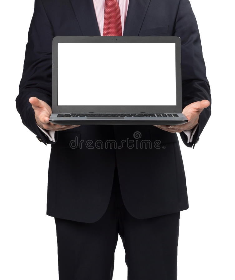 Man in suit with laptop. Standing on white background royalty free stock image