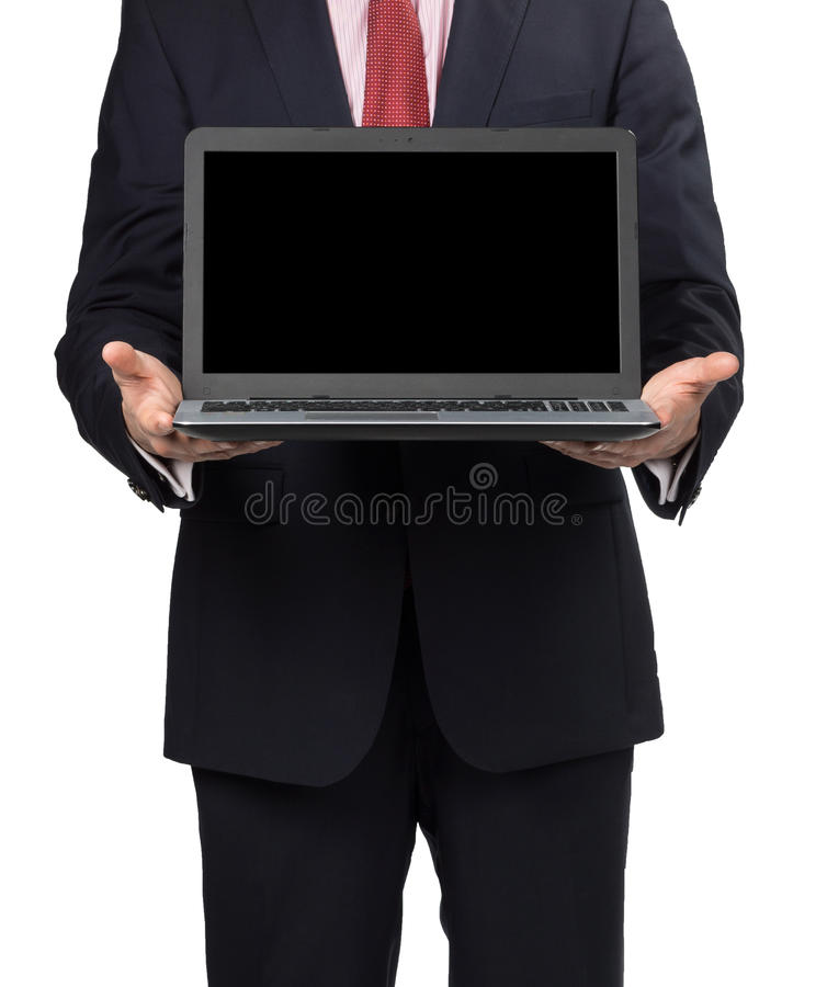 Man in suit with laptop. Standing on white background royalty free stock images