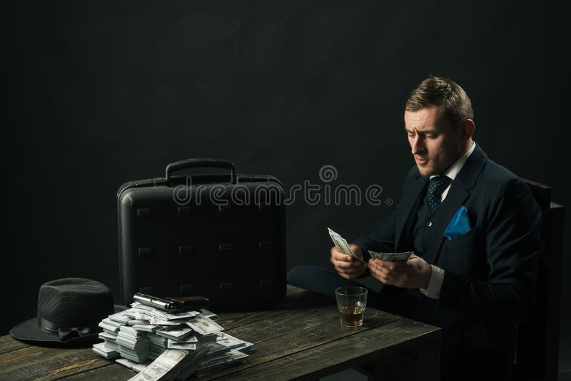 Man in suit. Mafia. Making money. Money transaction. Businessman work in accountant office. Small business concept. Economy and finance. Man bookkeeper. I love stock image