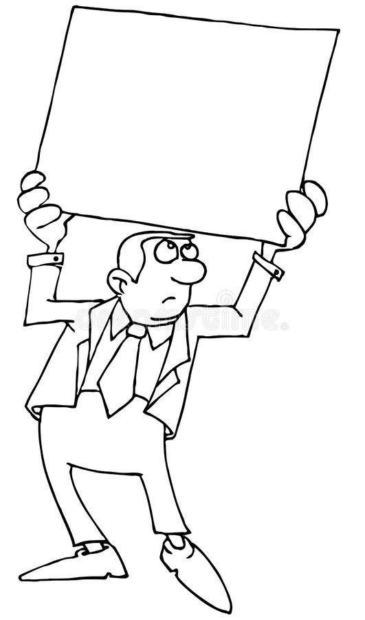 Man in suit with a poster vector illustration