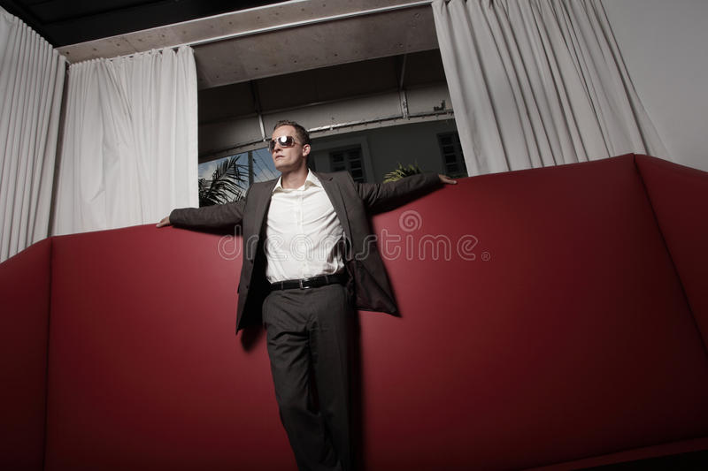 Download Man In A Suit On A Red Leather Couch Stock Photo - Image: 11714372
