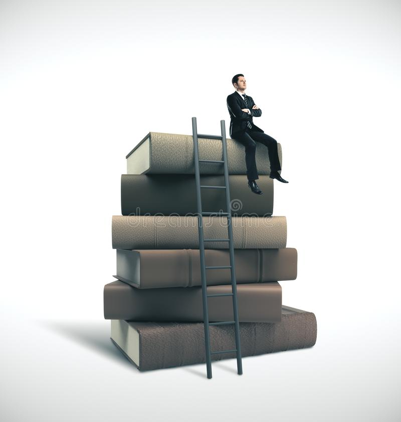 Man in suit sitting on stack of books. Young businessman in suit sitting on stack of books with ladder. Business education concept royalty free stock photography