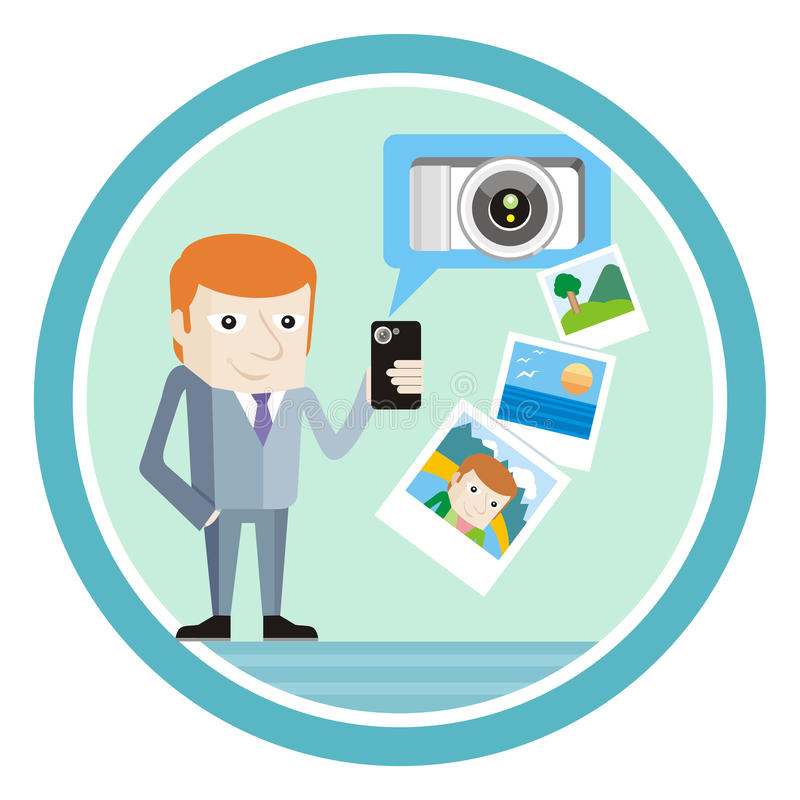 Man in suit with smartphone shows vacation photos. Concept for mobile application royalty free illustration