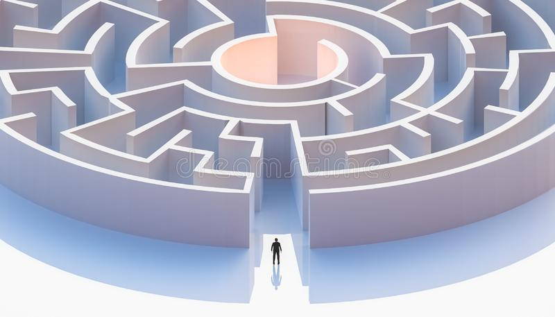 Man in suit standing in front of a circular or concentric maze entrance. Aerial. Abstract and conceptual stock illustration
