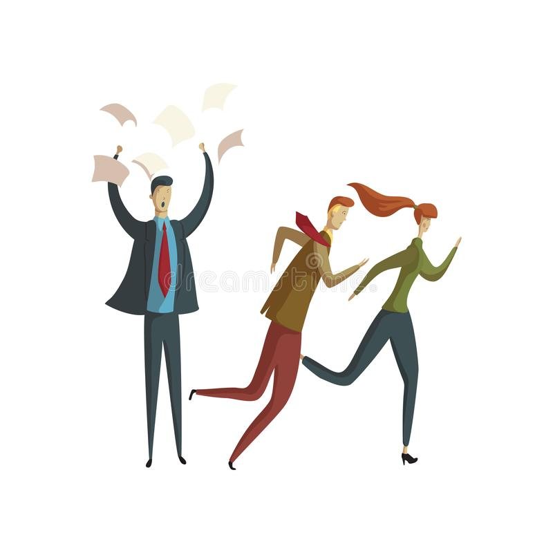 Man in a suit throws paper up. Another man and woman run away. Vector illustration on white background. Man in a blue suit and red tie throws sheets of paper up stock illustration