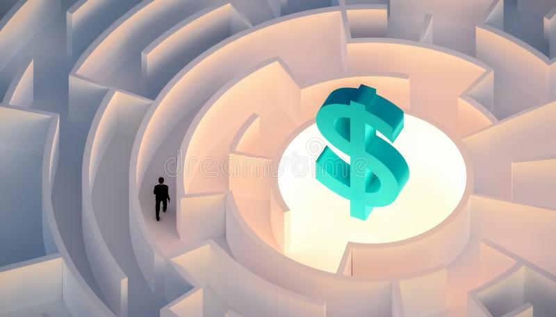 Man in suit walking in a maze or labyrinth seeking or looking for wealth or money symbolized by a dollar sign. Business, career, stock illustration