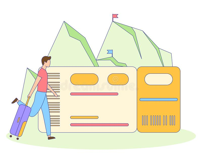 Tourist man with suitcase filled outline vector. Man with suitcase booking and buy airplane ticket. Metaphor planning vacation, adventure, travel trip to stock illustration