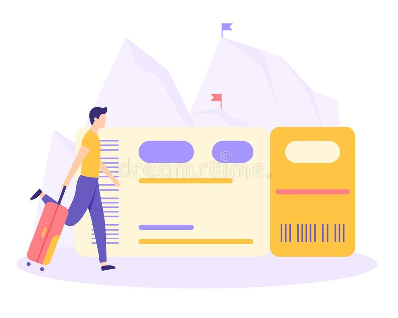 Man suitcase ticket mountain flat vector concept. Man with suitcase buy or booking airplane ticket. Metaphor planning vacation, adventure, travel trip to vector illustration