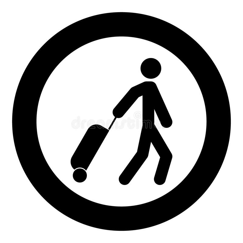 Man with suitcase icon black color in circle. Vector illustration isolated vector illustration