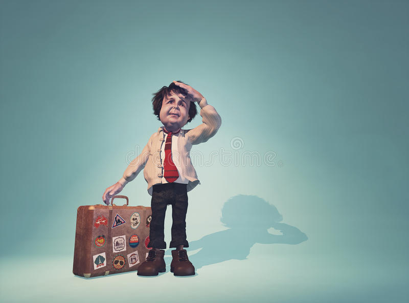 Man with a suitcase stock illustration