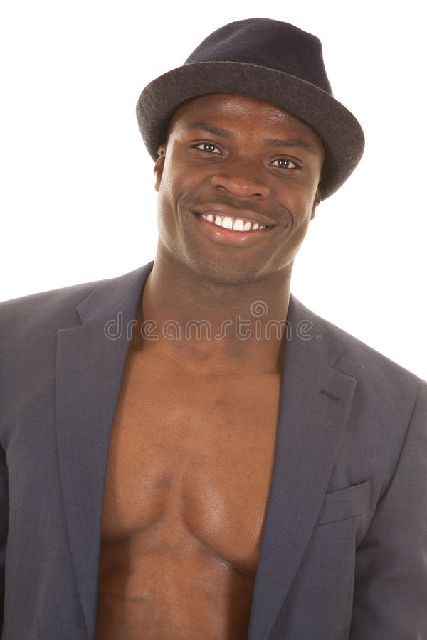 Download Man In Suitcoat No Shirt Smile Stock Photo - Image of brown, chested: 32209516