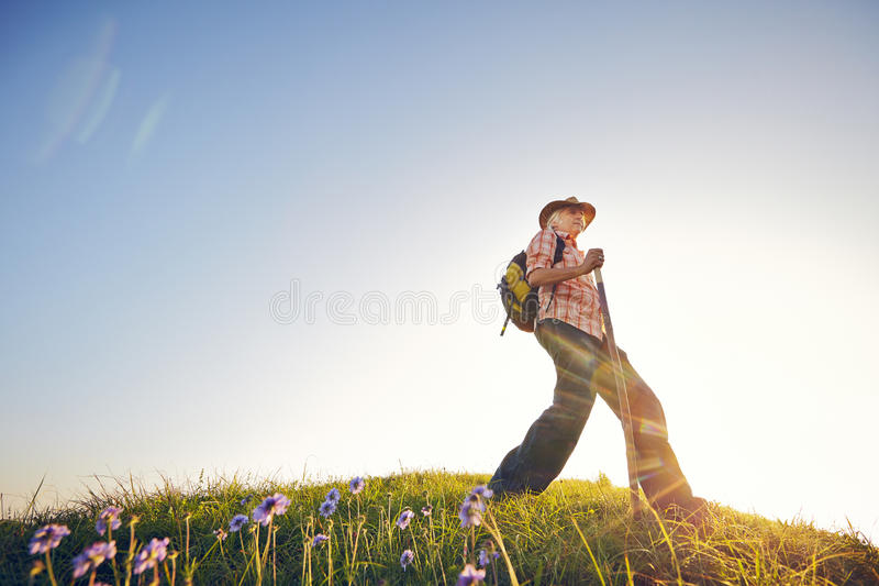 Man summer flowers. Man on summer meadow with flowers and sky stock image