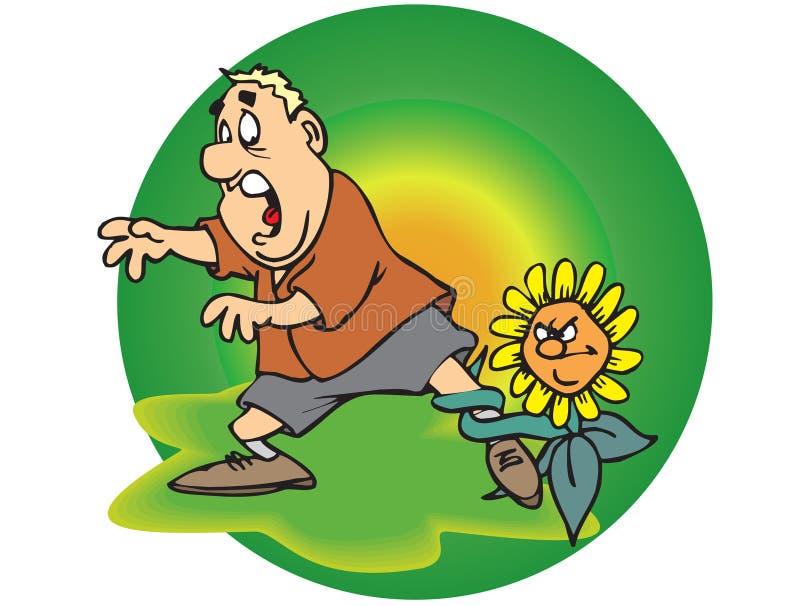 Man and sunflower vector illustration