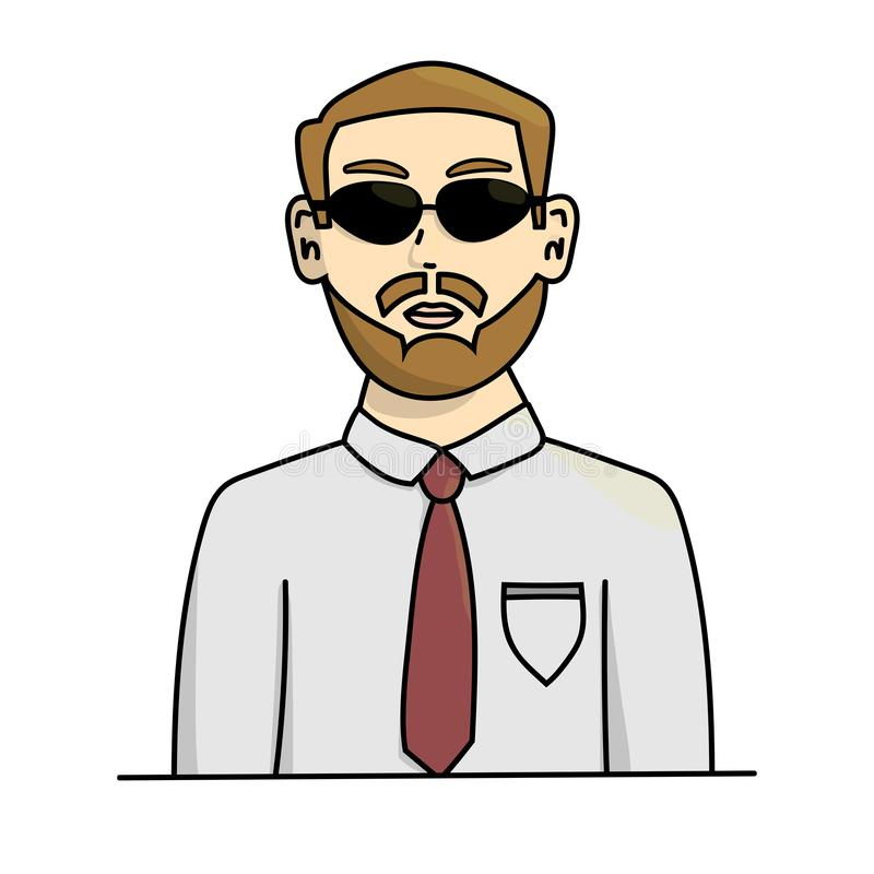 Man in sunglasses. Isolated stock vector cartoon illustration vector illustration