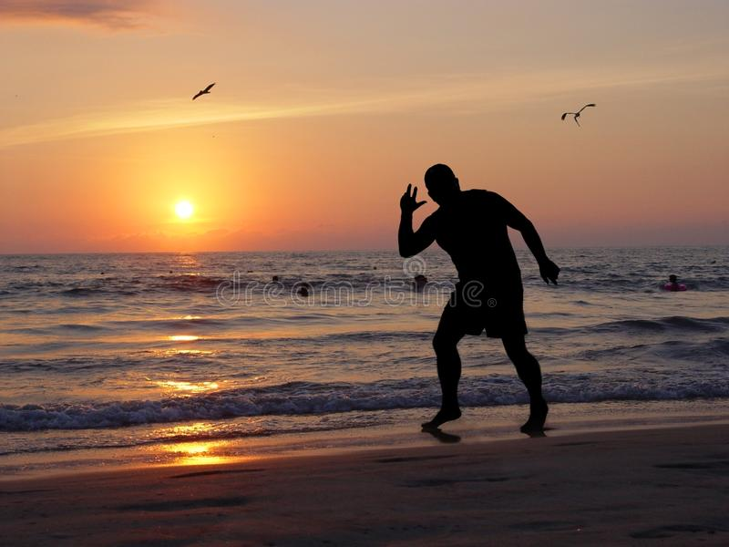 Download Man at sunset stock image. Image of tropical, living, relaxing - 58517