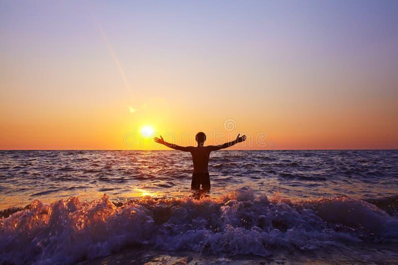 Man at sunset royalty free stock photos