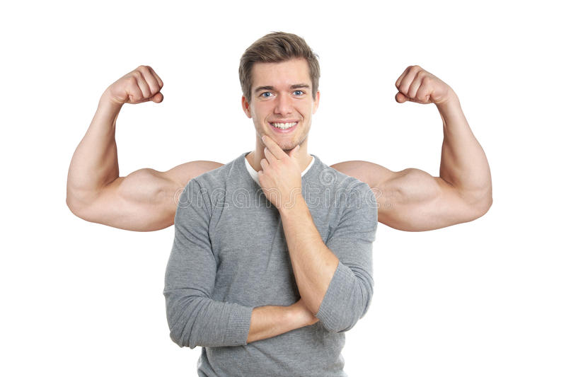 Man with superimposed muscular arms stock photo
