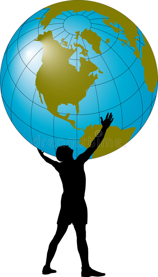 Man supporting the globe vector illustration
