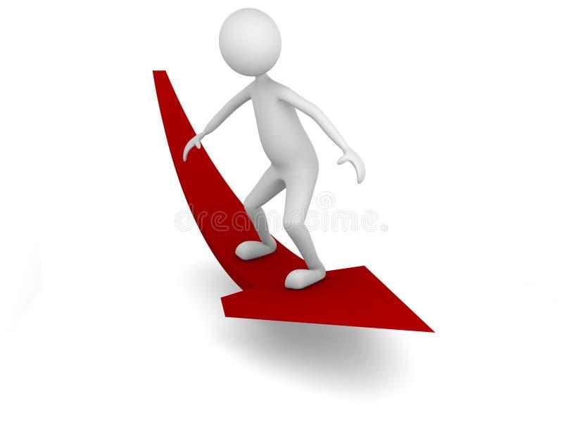 Download Man surfing economy arrow stock illustration. Image of board - 8678416