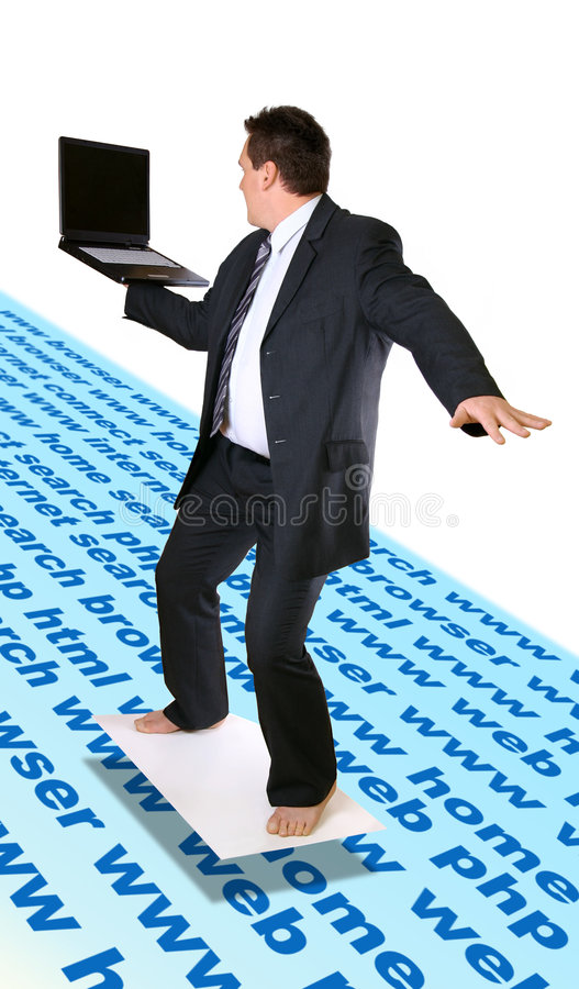 Man Surfing Internet. Man standing on the board with laptop. Concept of surfing www