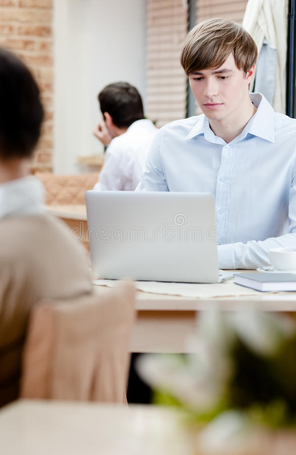 Man Is Surfing On The Internet On The Pc Stock Photography
