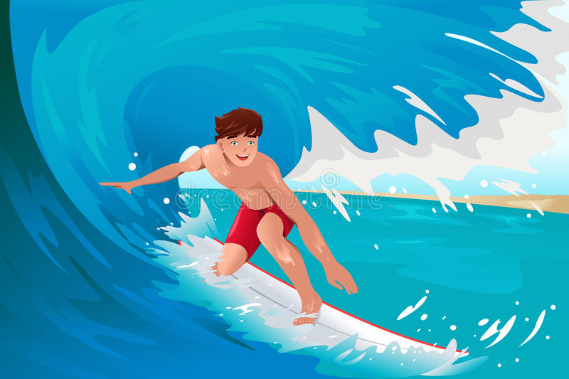 Man surfing on the ocean stock illustration
